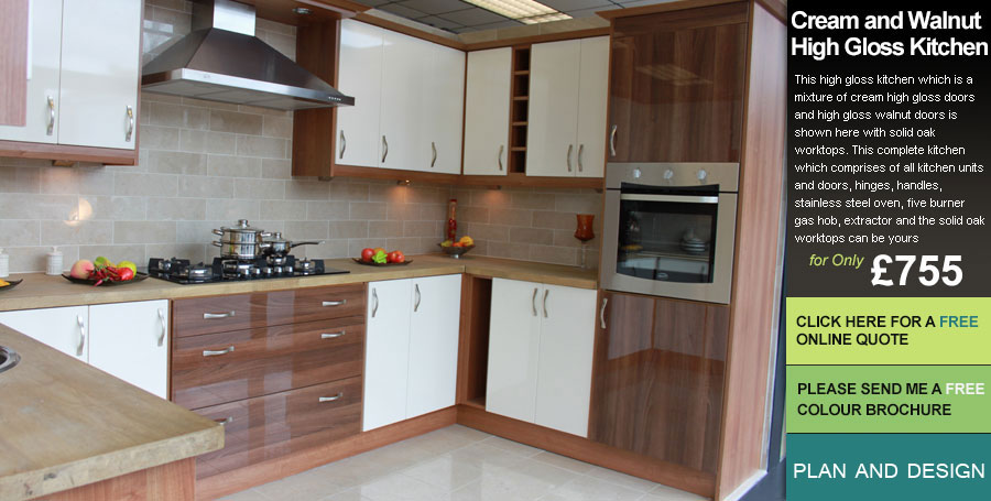 Cream And Walnut High Gloss Fitted Kitchens Leeds